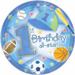 1st Birthday All Star - Plates - 9""