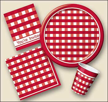Red Checkered Plates - 6 3/4""