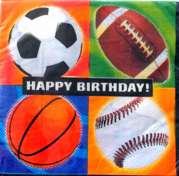 Football - Championship Sport Lunch Napkins - Happy Birthday