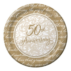 Gold Wishes Plates 50th Anniversary 6 3/4""