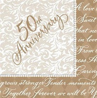 Gold Wishes Beverage Napkins 50th Anniversary