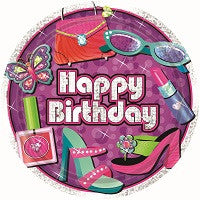 "Glitzy Girl - Plates 7"" - BIrthday"
