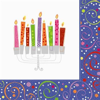 Hanukkah Playful Menorah Beverage Napkins