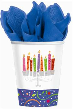 Hanukkah Playful Menorah Cups 9 oz