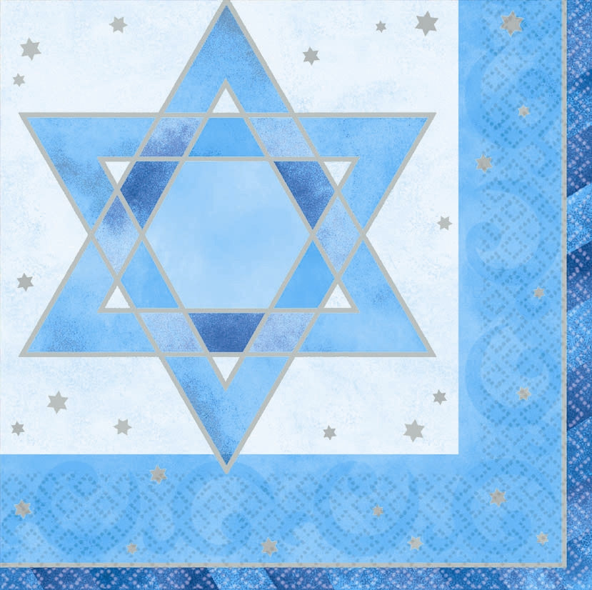 Hanukkah Shimmering Star Lunch Napkins