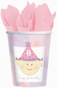 1st Birthday Girl - Cups - 9 oz.