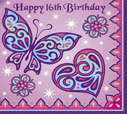 Sparkle Princess Beverage Napkins - Happy 16th Birthday