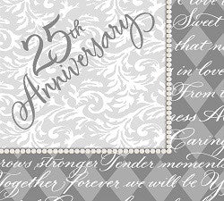 Platinum Wishes - Beverage Napkins - 25th Anniversary