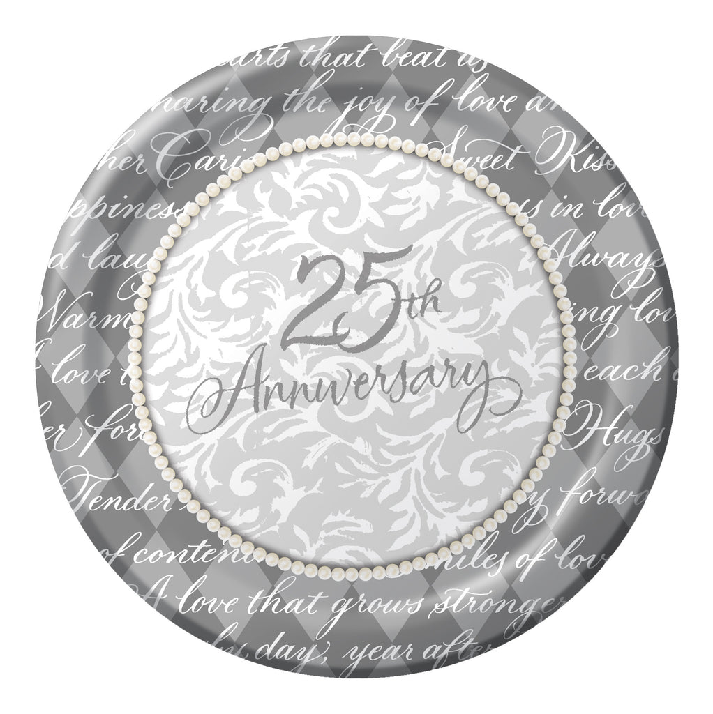 "Platinum Wishes Plates - 10 1/4""- 25th Anniversary"
