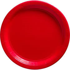 "Apple Red Paper Plates - 9"" - Qty: 8"