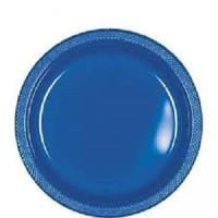 Bright Royal Blue Plastic Plates - 10.25""