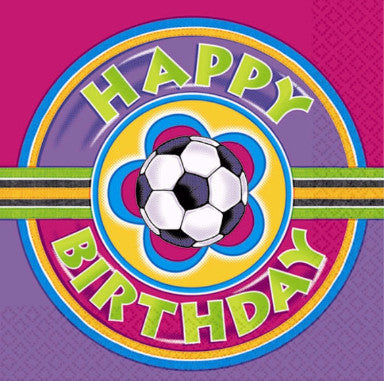 Soccer Girl Happy Birthday Lunch Napkins