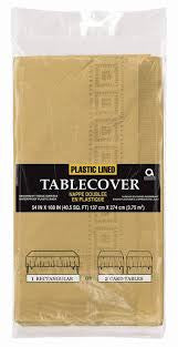 Solid Table Cover Paper Plastic Lined Gold