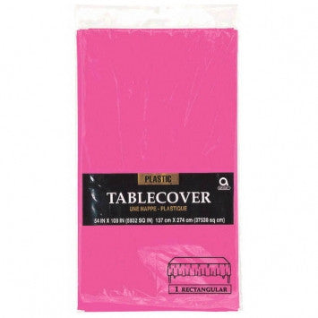 Solid Table Cover - Plastic - Rectangle - Bright Pink