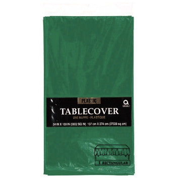 Solid Table Cover - Plastic - Rectangle - Forest Green