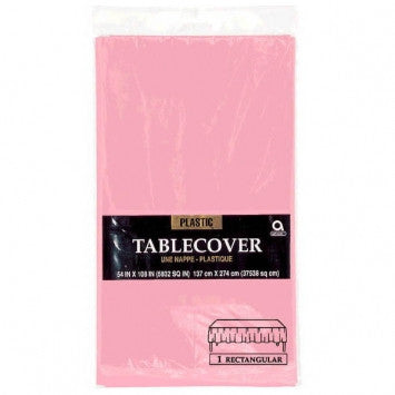 Solid Table Covers - Plastic - Rectangle - New Pink