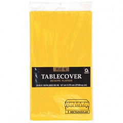 Solid Table Cover Plastic Yellow Sunshine