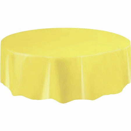 Solid Table Cover Plastic Round Yellow