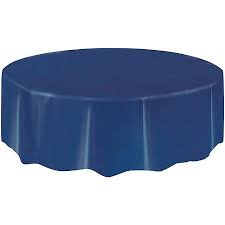 Solid Table Cover-Round-Plastic-Navy