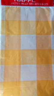 Table Cover Plastic Yellow Squares Round