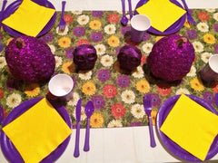 CHRYSANTHEMUM PUMPKINS & OWLS PURPLE TABLESCAPE includes TABLESETTING