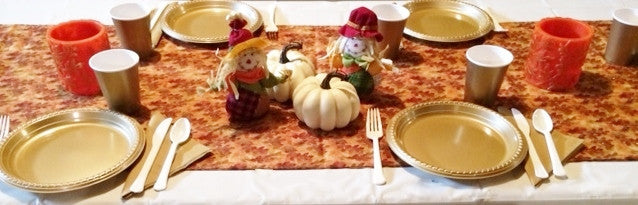 GLISTENING LEAVES & DOLLS TABLESCAPE includes TABLESETTING