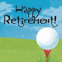 Tee Time Beverage Napkins - Happy Retirement