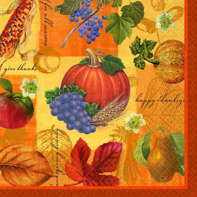 Thanksgiving Scrapbook Beverage Napkins