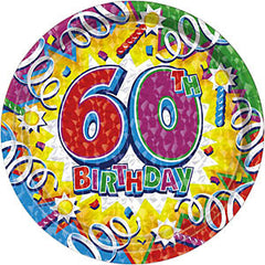 Birthday Explosion 60th Plates 7""