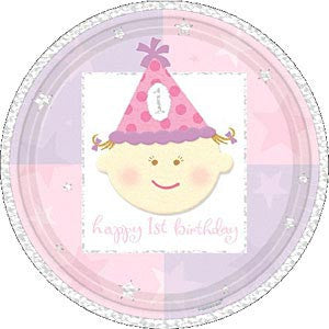 1st Birthday Girl - Plates 9""