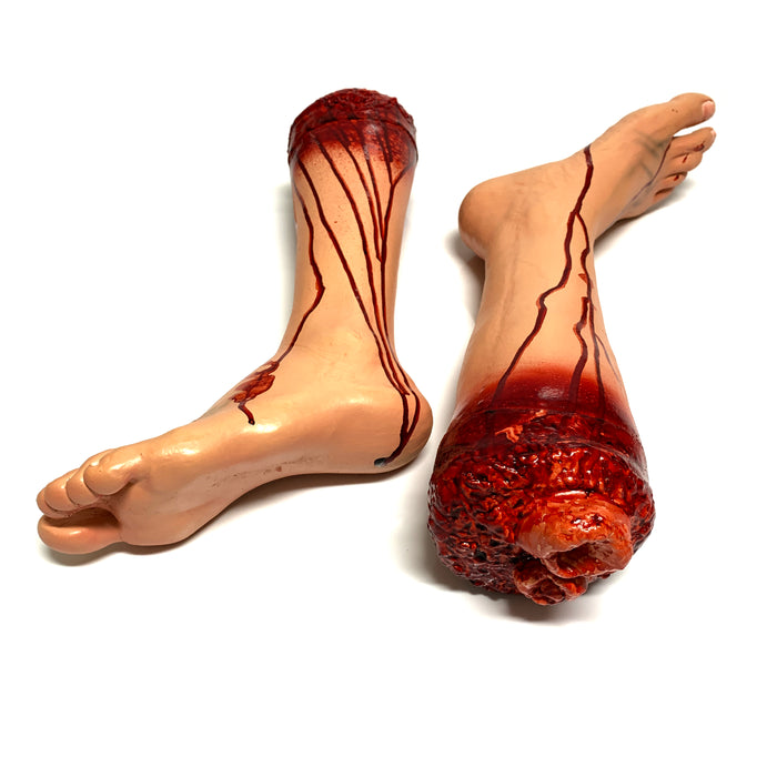 NewRuleFX Brand Foam Rubber and Latex Bloody Severed Foot Stump - PAIR 1 Right & 1 Left - Both Legs