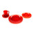 NewRuleFX Brand SMASHProps Breakaway 4 Piece Place Setting - RED translucent - Red,Translucent