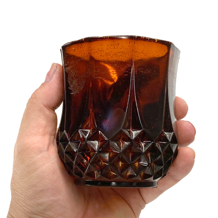 NewRuleFX Brand SMASHProps Breakaway Crystal Cut Tumbler Glass - AMBER BROWN translucent - Amber Brown Translucent