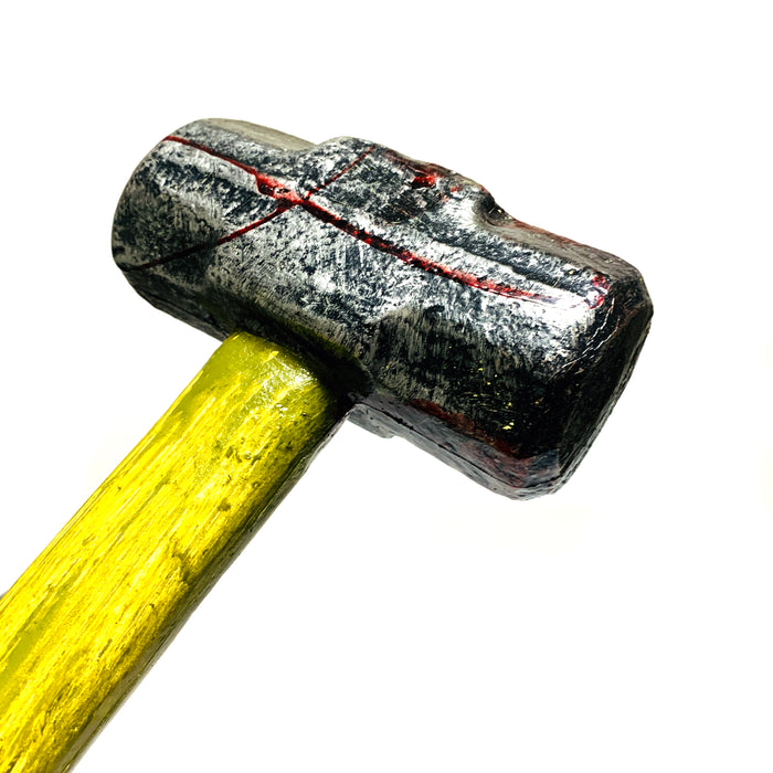 NewRuleFX Brand Urethane Foam LARGE 34 Inch Rubber Sledgehammer Stunt Prop - BLOODY - Bloodied Silver Head with Aged Handle