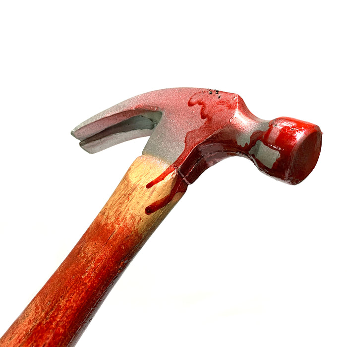 NewRuleFX Brand Foam Rubber Standard Claw Hammer Stunt Prop - BLOODY - Bloodied Silver Head with Aged Handle