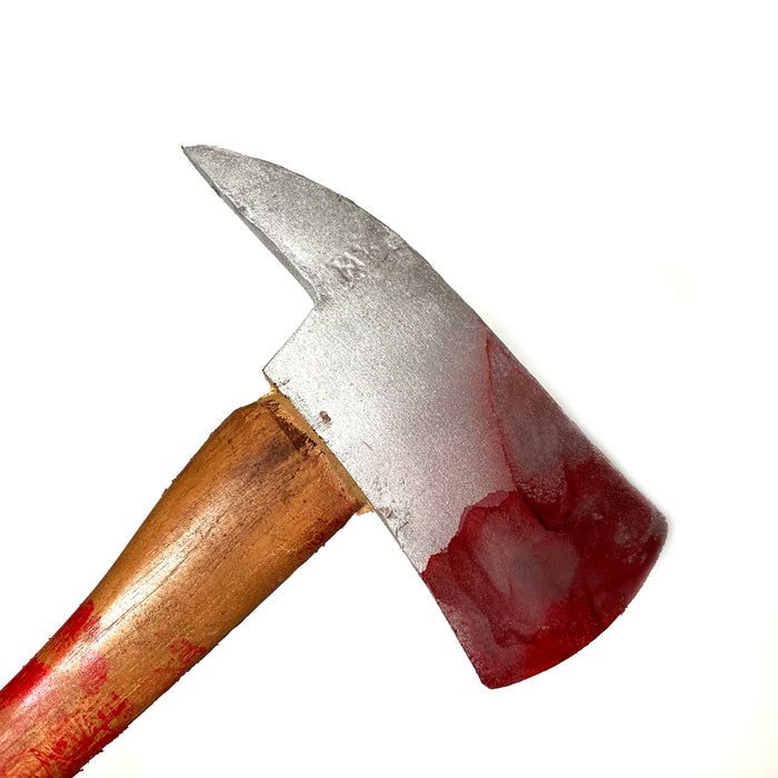 "NewRuleFX Brand 36 Inch Urethane Foam Rubber Stunt Axe Prop as seen in ""The Shining"" - BLOODY - Bloodied Silver Head with Aged Handle"