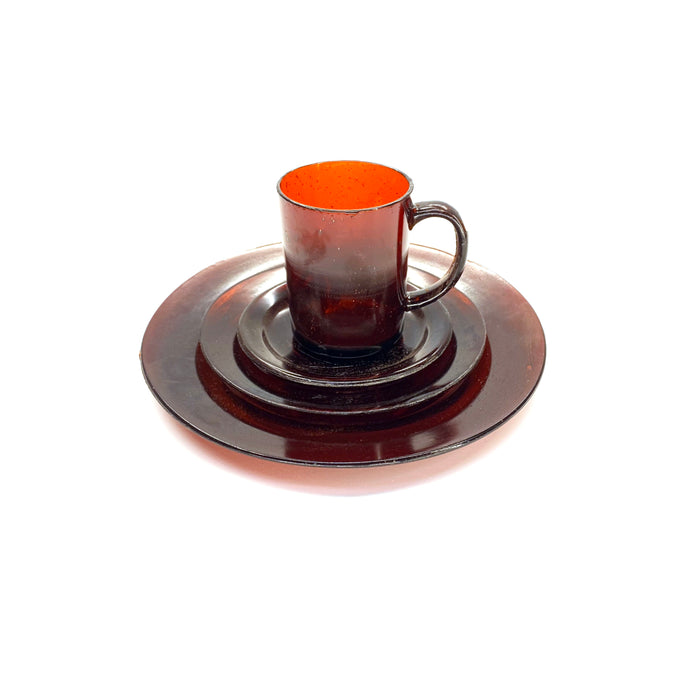 NewRuleFX Brand SMASHProps Breakaway 4 Piece Place Setting - AMBER BROWN translucent - Amber Brown,Translucent