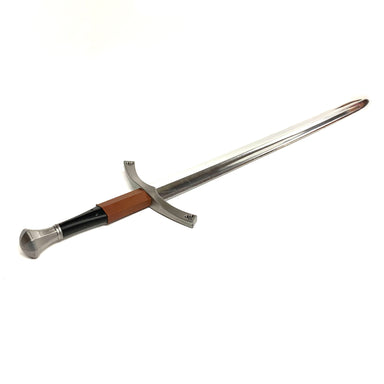 Lightweight Foam Chrome Medieval Sword - Brown and Black Handle