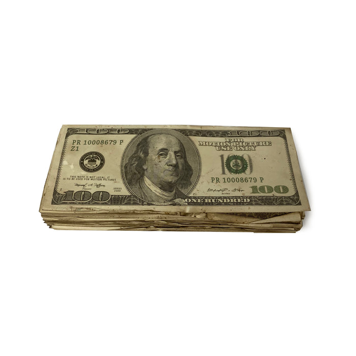 Money Prop - Series 2000 $100 Very Very Aged $10,000 Full Print Stack