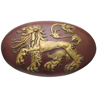 Game of Thrones Fiberglass Lannister Replica Shield Prop with Wooden Display Mount