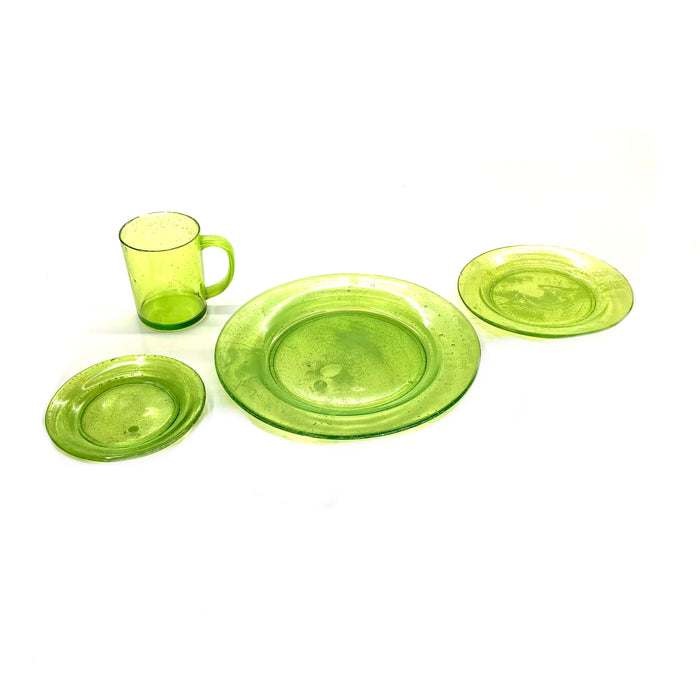 NewRuleFX Brand SMASHProps Breakaway 4 Piece Place Setting - LIGHT GREEN translucent - Light Green,Translucent