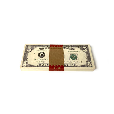 Money Prop - Series 1980s $5 Crisp New $500 Full Print Stack