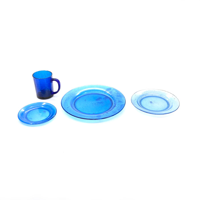 NewRuleFX Brand SMASHProps Breakaway 4 Piece Place Setting - LIGHT BLUE translucent - Light Blue,Translucent