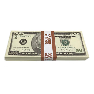 Money Prop -Series 2000 $50's Crisp New $5,000 Full Print Stack
