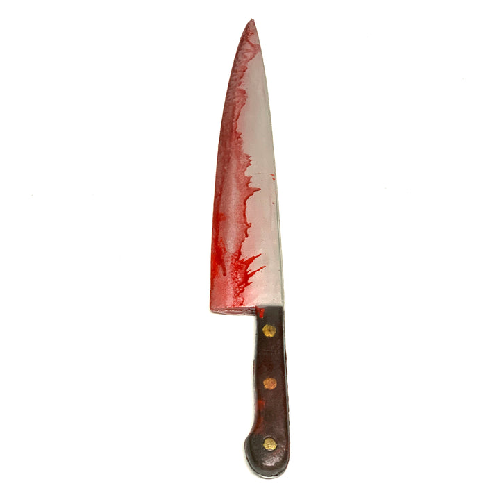 NewRuleFX Brand XL Butcher Knife Prop Brown Handle - BLOODY