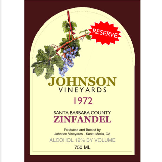 Johnson Vineyards Zinfandel Single Self Adhesive Label - License and Royalty Free for Film Use