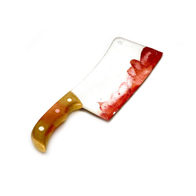 NewRuleFX Brand Foam Rubber Butcher's Cleaver Medium Knife - BLOODY - Bloodied Silver Blade with Simulated Wood Handle