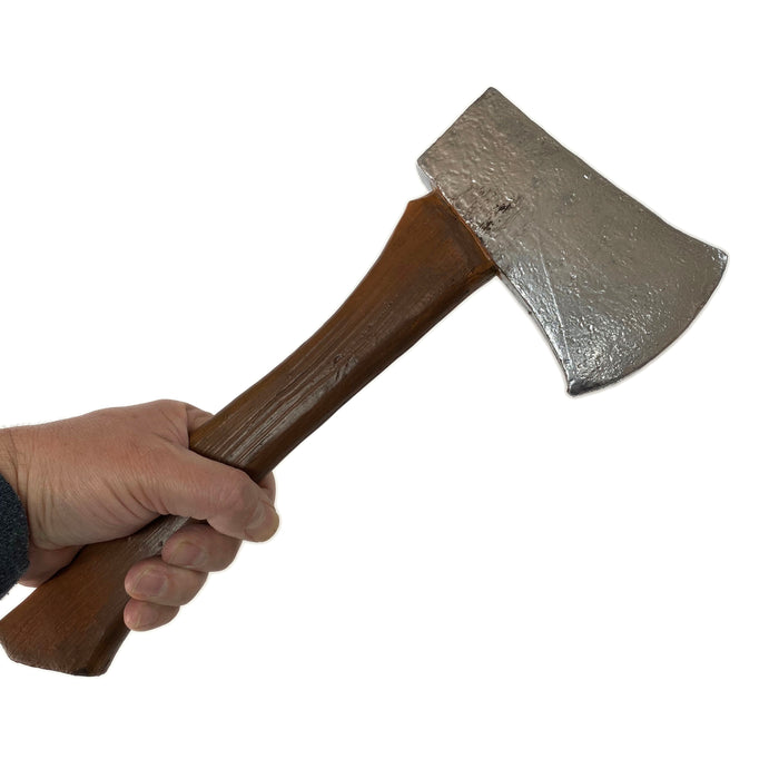 NewRuleFX Brand Foam Rubber Hatchet Axe Prop - SILVER - Silver Head with Lightwood Grain Handle