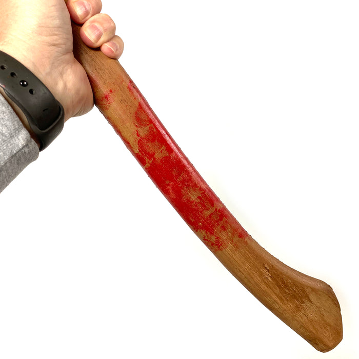 NewRuleFX Brand Large Foam Rubber Single Head Two-Hand Axe Stunt Prop - BLOODY - Bloodied Silver Head with Lightwood Handle