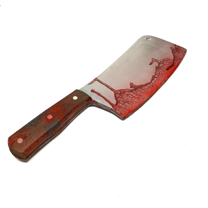 NewRuleFX Brand Plastic Kitchen Cleaver Blade Knife Prop - BLOODY - Bloodied Silver Blade with Brown Handle